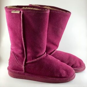 💗 Bearpaw Elle Tall Hot Pink Wool Suede Boots Y 5